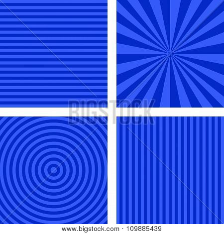 Blue simple striped background set
