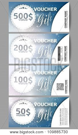 Set of modern gift voucher templates. Blue abstract winter background. Christmas vector style with s