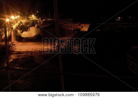 Evening Guarded Construction Site Reconstruction Of The Bridge In The City Of Litomerice