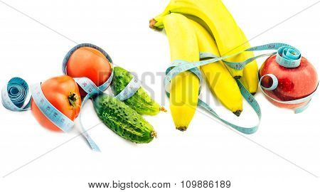 Vegetables And  Fruits Wrapped In Measuring Tape