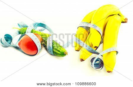 Omato Cucumber And Banana Wrapped In Measuring Tape