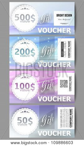 Set of modern gift voucher templates. Abstract wave vector background