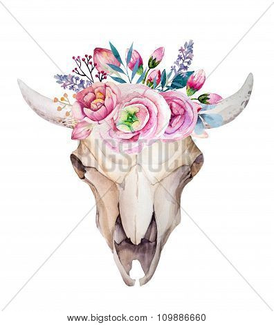 Watercolor cow skull with flowers and feathers. Boho style desig