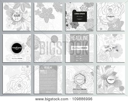 Set of 12 creative cards, square brochure template design. Hand drawn floral doodle pattern, abstrac
