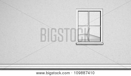 Simple Paper texture Illustration of a window on wall with outside view