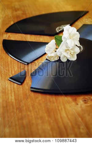 Artificial Flowers On A Broken Gramophone Record