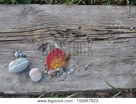 Leaf, Feather and Stones on Old Board