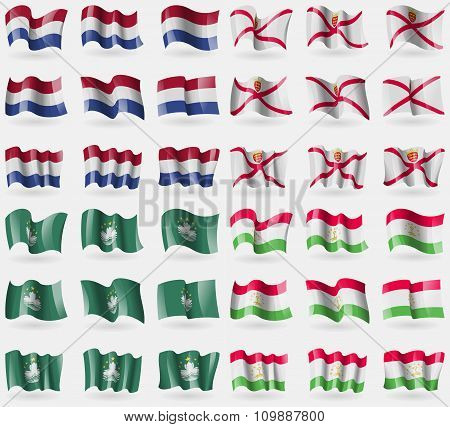 Netherlands, Jersey, Macau, Tajikistan. Set Of 36 Flags Of The Countries Of The World.