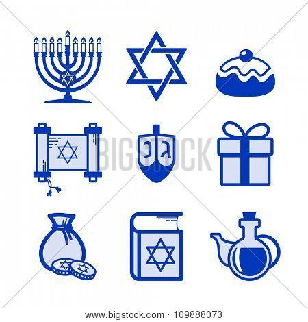 Jewish Holiday Hanukkah icons set