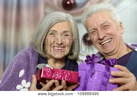 Elderly couple celebrating new year