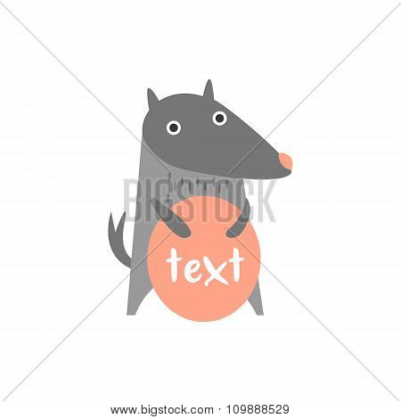 Cute wolf with a sign for text