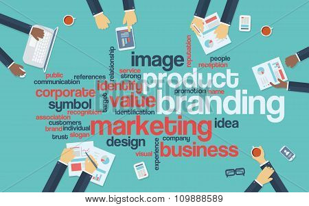 Product branding flat design infographics with word cloud. Marketing and advertising presentation.