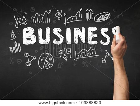 A mature hand writing business and different graphs, charts on a clean blackboard with a chalk