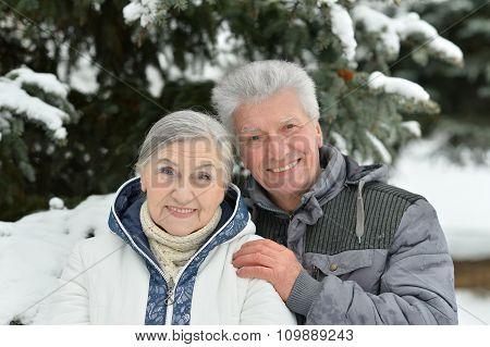 senior couple at winter outdoors