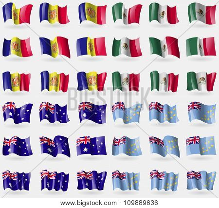 Andorra, Mexico, Australia, Tuvalu. Set Of 36 Flags Of The Countries Of The World.