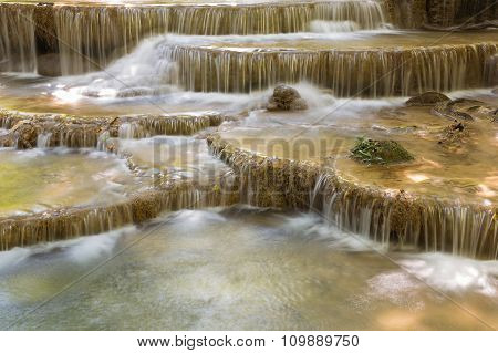 Closed up natural topical stream waterfalls in deep forest national park