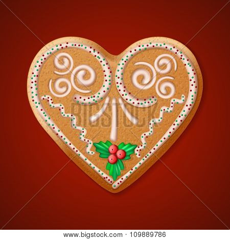 Ornate realistic vector traditional Christmas gingerbread heart. Vector illustration