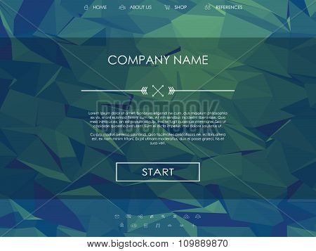 Website landing page template with set of line icons user interface and green low poly background.
