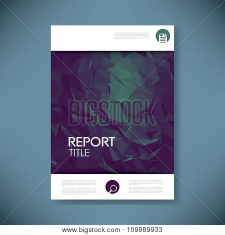 Report cover template for business presentation or brochure. Abstract polygonal shape symbol vector