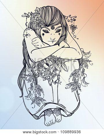 Nature fairy woman boho illustration.
