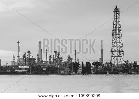 Petrol refinery and tower river front
