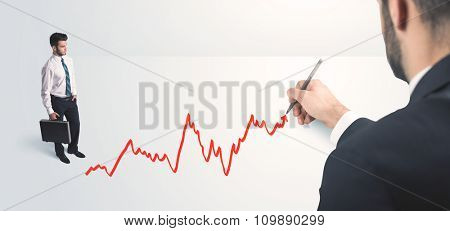 Business person looking at line drawn by hand concept on background