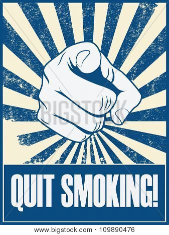 Quit smoking motivational poster vector background with hand and pointing finger. Health lifestyle p