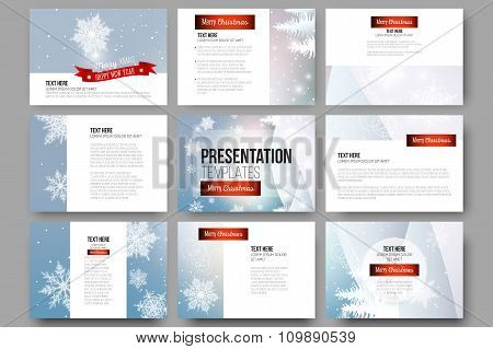 Set of 9 templates for presentation slides. Merry Christmas and happy New Year vector background