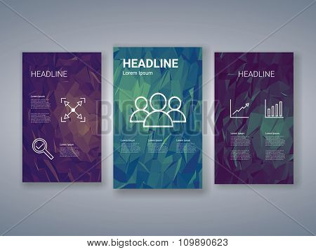 Business infographics template on low poly background. Human resources icons, graphs and charts.