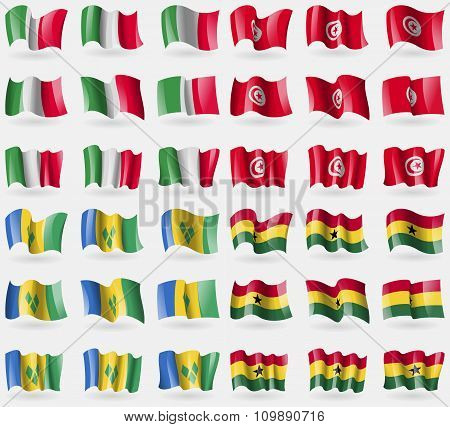 Italy, Tunisia, Saint Vincent And Grenadines, Ghana. Set Of 36 Flags Of The Countries Of The