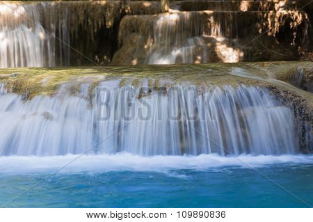 Closed up multiple layer natural waterfall