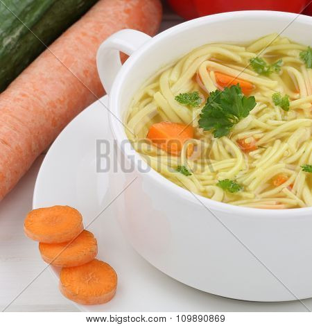 Noodle Soup With Noodles Closeup Healthy Eating