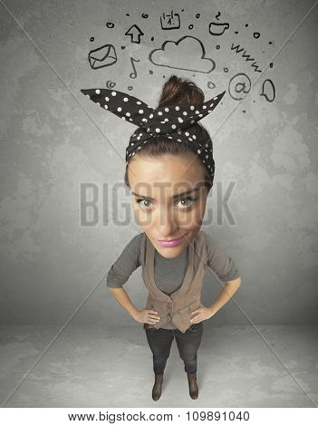 Funny girl with big head and drawn social media marks over it