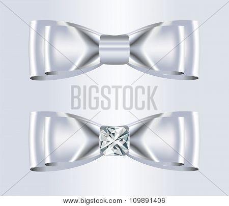 Double Elegant White Silk Bow