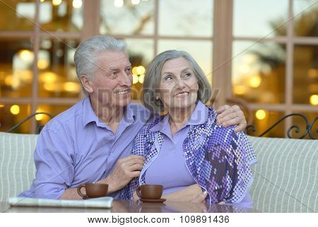Senior couple drinking coffee