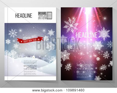 Set of business templates for brochure, flyer or booklet. Merry Christmas and happy New Year vector