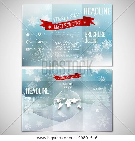 Vector set of tri-fold brochure design template on both sides with world globe element. Merry Christ