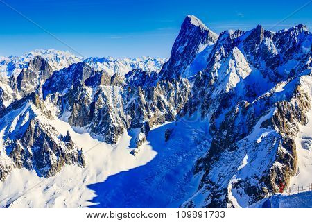 Freeski - Valle Blanche starting point from the Aiguille du Midi, Mont Blanc, Chamonix