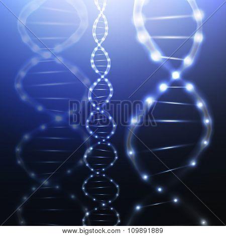 DNA molecule structure on dark background. Science vector background