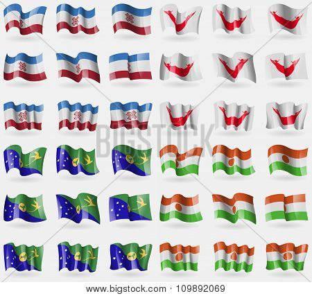 Mari El, Easter Rapa Nui, Christmas Island, Niger. Set Of 36 Flags Of The Countries Of The World.