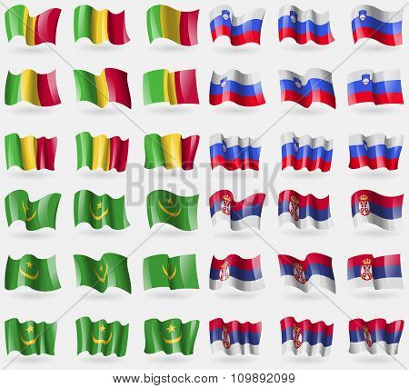 Mali, Slovenia, Mauritania, Serbia. Set Of 36 Flags Of The Countries Of The World.