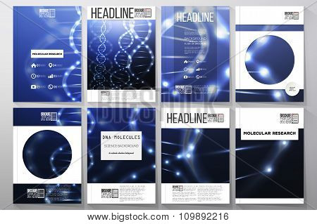 Set of business templates for brochure, flyer or booklet. DNA molecule structure on dark background.