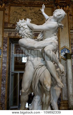 ROME,  ITALY - JUNE 14 2015: baroque marble sculptural group by Italian artist Gian Lorenzo Bernini Rape of Proserpine in Galleria Borghese Rome Italy