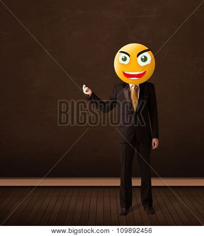 Funny businessman with yellow smiley face