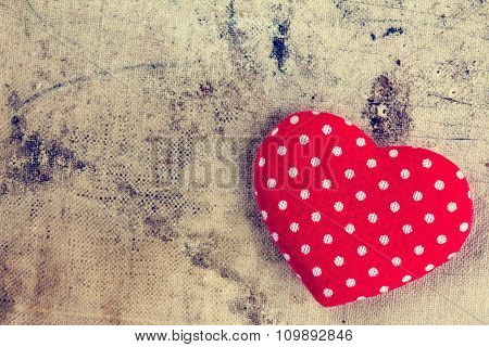 Red Heart Of Polka Dot Fabric