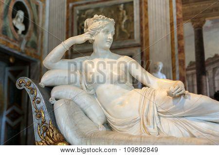 ROME, ITALY - JUNE 14 2015: Statue Pauline Bonaparte by Antonio Canova in Galleria Borghese Rome Italy