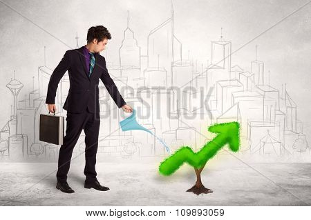 Business man watering green plant arrow concept on background