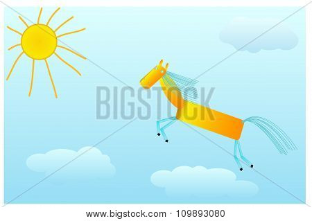 Chestnut horse gallops to the sun on clouds.