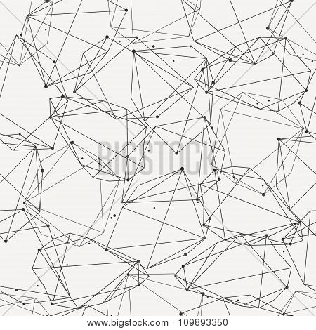 Vector Modern Seamless Pattern With Lines And Circles. Abstract Geometric Shapes Connecting In Nodes
