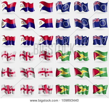 Saint Martin, Cook Islands, Georgia, Guyana. Set Of 36 Flags Of The Countries Of The World.